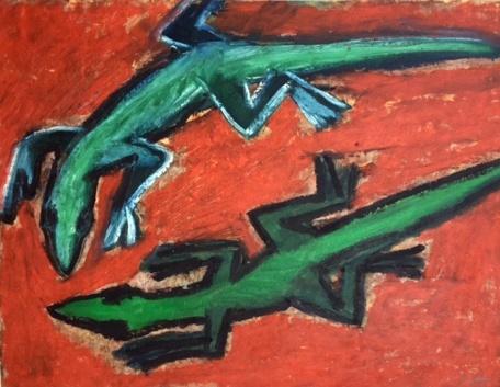 Two Lizards - oilbar on paper - 25x33cm