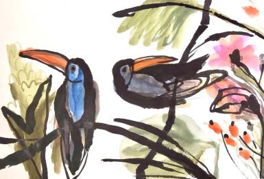 Long Beaks - ink and watercolour - 31x46cm