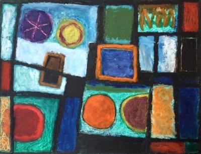 Window - oilbar on paper - 25x34cm