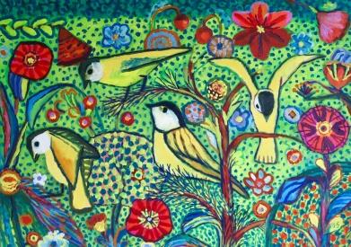 Yellow Birds - oil - 30x42cm