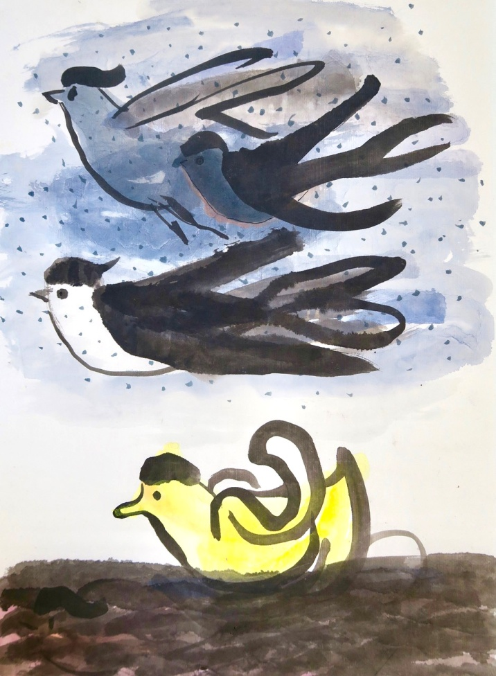 Yellow Duck - ink and watercolour on paper - 45x30cm