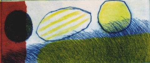 Yellow Landscape - drypoint, chine colle - 13x30cm