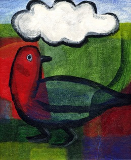 Bird with Cloud - acrylic
