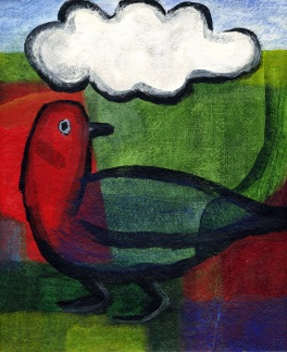Bird with Cloud - acrylic