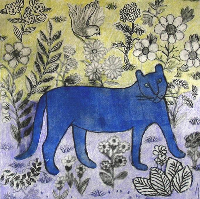 Blue Cat - intaglio, handcolouring