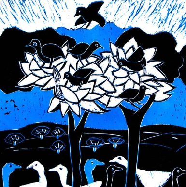 Blue Trees - reduction linocut