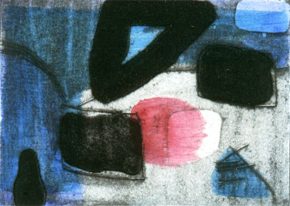 Blue - collagraph, chine colle