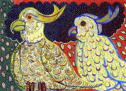 Cockatoos - gouache