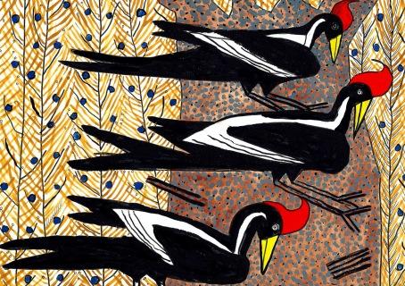 Crested Birds - gouache, ink