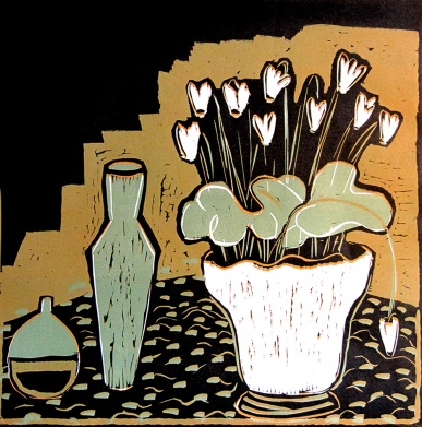 Cyclamen - reduction linocut