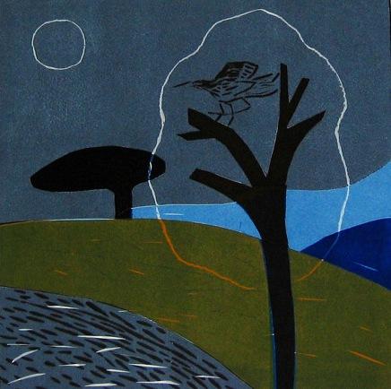 Dark Landscape - linocut