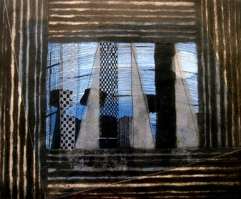 Dawn - collagraph, chine colle