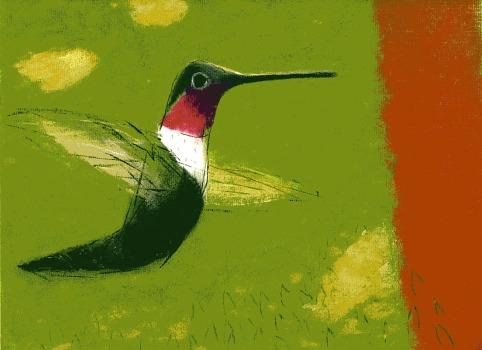 Hummingbird - chalk pastel