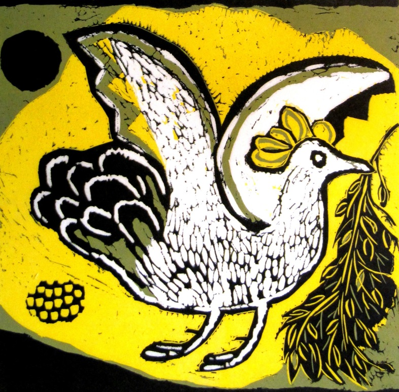 Olive Branch - reduction linocut