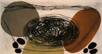 Ovals Dancing - drypoint, linocut