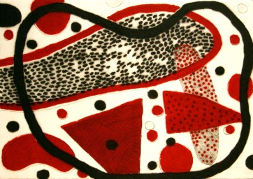 Red and Black 1 - drypoint, carborundum
