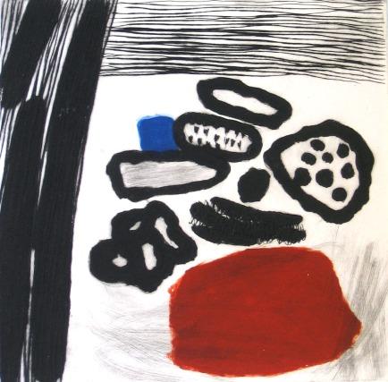 Red, Blue and Black - drypoint, carborundum