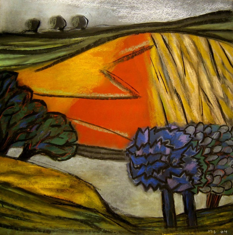 Red Field - chalk pastel
