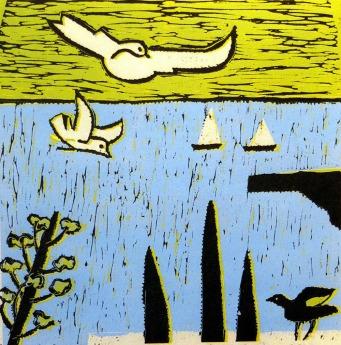 Seagulls - reduction linocut