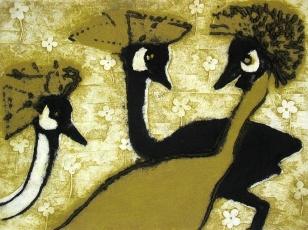 Three Cranes - collagraph