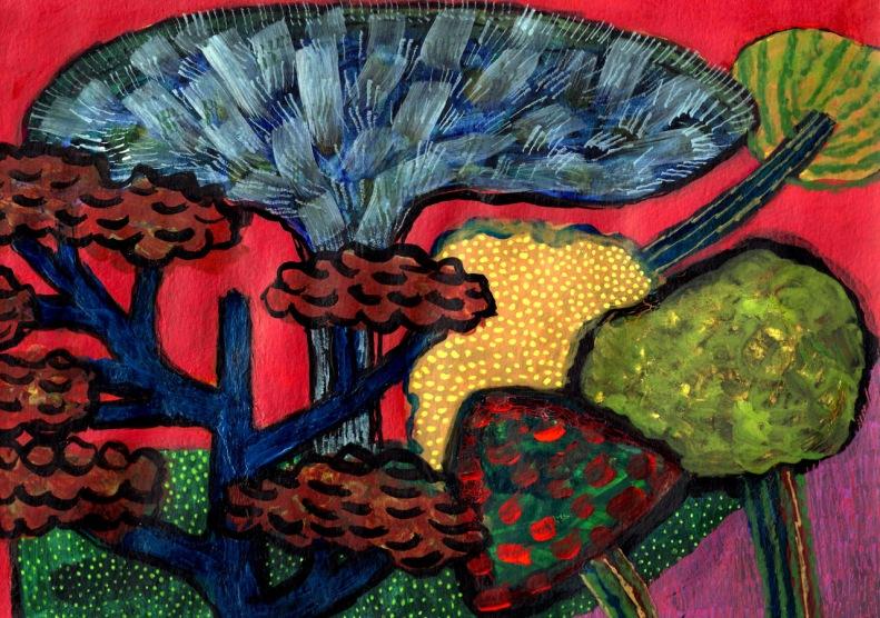Trees - acrylic, crayon