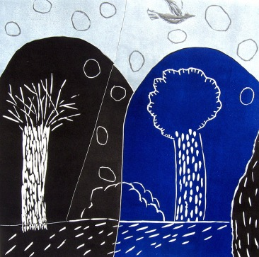 Two Trees - linocut