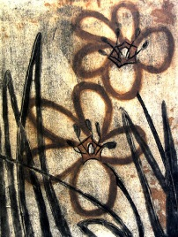 Two Tulips - collagraph