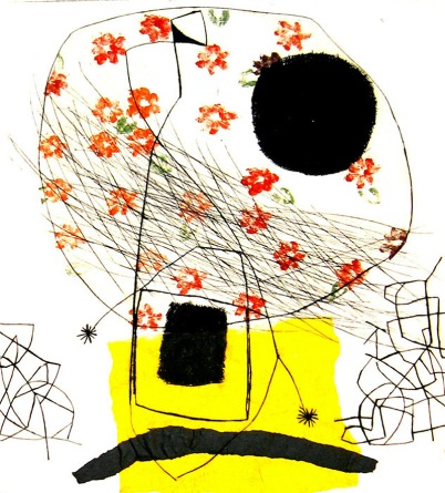 Variation Yellow - drypoint, monotype, chine colle