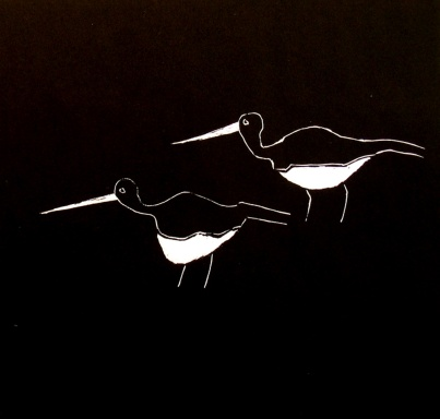 Waterbirds - linocut