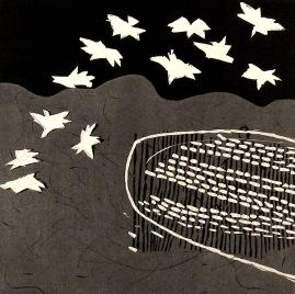 White Birds - linocut