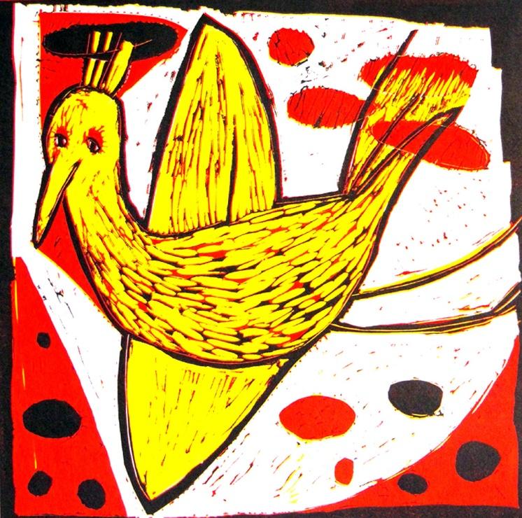 Yellow Bird - reduction linocut