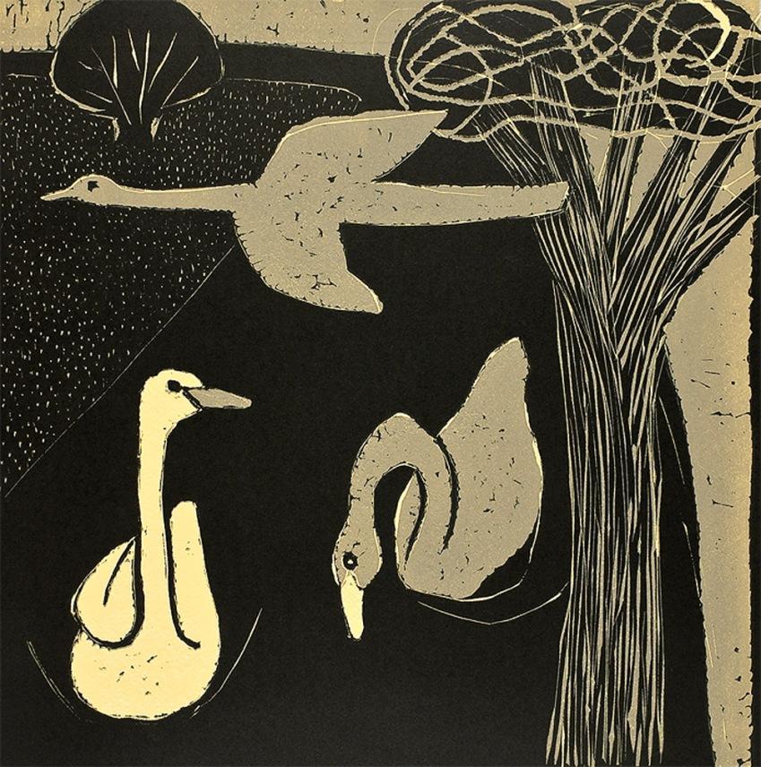 Yellow Swans - linocut