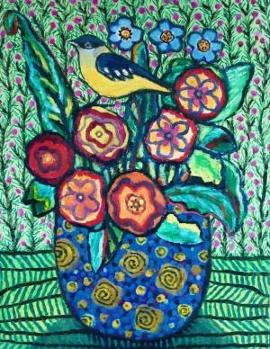 Amongst Flowers - oil - 46 x 36 cm