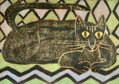 Black Cat - monoprint, hand colouring - 30 x 42 cm