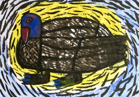 Blue Duck - gouache, crayon - 30 x 42 cm