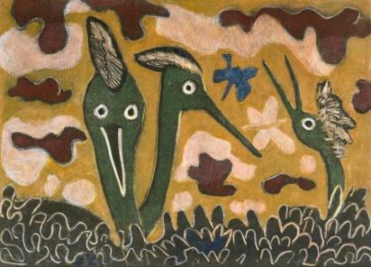 Early Birds - mono print, hand colouring - 30 x 42 cm