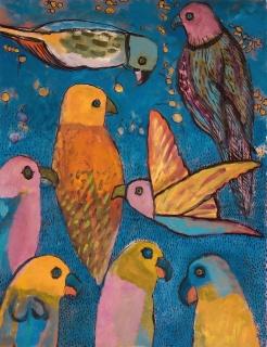 Eight Birds - oil, ink - 33 x 26 cm