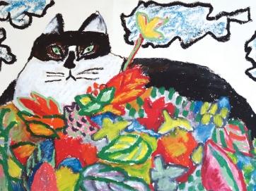 Fat Cat - oil pastel - 30 x 42 cm