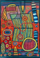 Floating - acrylic - 84 x 59 cm