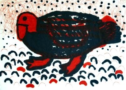 Golden Goose - carborundum, drypoint - 30 x 42 cm