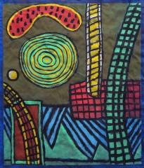 Green Circle - gouache, charcoal - 64 x 55 cm