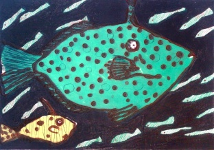 Green Fish - carborundum, drypoint - 33 x 47 cm