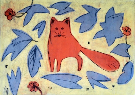 Little Fox - drypoint, mono print - 30 x 42 cm