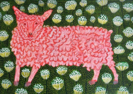 Little Lamb - acrylic, crayon - 29 x 40 cm