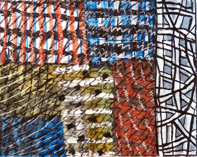 Patches - gouache, charcoal - 51 x 41 cm