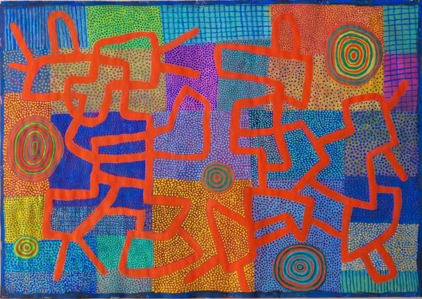Red Lines - gouache - 42 x 59 cm