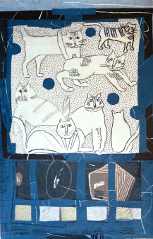 Seven Cats - intaglio, collage - 35 x 50 cm