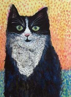 Smiling Cat - ink, watercolour - 45 x 30 cm
