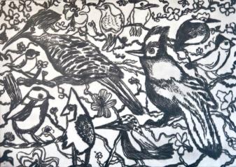 Ten Birds_drypoint_mono print_30x42cm_bw