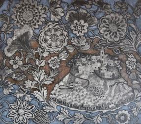 Villages 2 - hand coloured collagraph - 40 x 45 cm